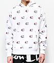 Champion Allover Print C sudadera con capucha blanca de tejido inverso