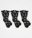 Champion Allover Print paquete de 3 calcetines negros para niños