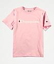 Champion Boys Logo Script Pink Candy T-Shirt