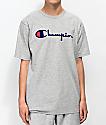 Champion Flock Script camiseta gris y azul