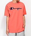 Champion Flock Script camiseta papaya y azul