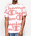 Champion Heritage Allover Script camiseta coral y blanca