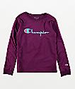 Champion Heritage camiseta morada de manga larga para niños