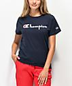 Champion OG Direct Flock Script camiseta azul marino