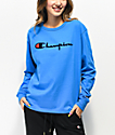 Champion OG Flock camiseta de manga larga azul