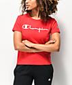Champion OG Script Scarlet Red Crop T-Shirt
