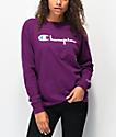 Champion Original Flocked Script Purple Long Sleeve T-Shirt