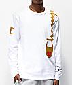 Champion Over Shoulder Logo camiseta de manga larga blanca y dorada