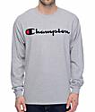 Champion Patriotic Script Heather Grey Long Sleeve T-Shirt