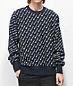 Champion Reverse Weave All Over Print Navy Crew Neck Sweatshirt