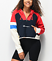 Champion Reverse Weave Red Colorblock Half Zip Crop Hoodie