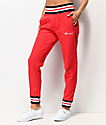 Champion Reverse Weave Rib Trim Red Jogger Sweatpants