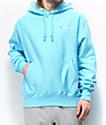 Champion Reverse Weave Small Script Logo Light Blue Hoodie