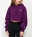 Champion Reverse Weave Venetian Purple Crop Hoodie