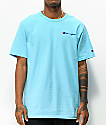 Champion Small Heritage Script Light Blue T-Shirt