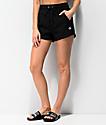 Champion Small Logo shorts de punto negro de tejido inverso