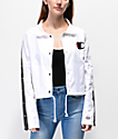 Champion Zip Tape White Crop Coaches Jacket