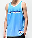 Champion camiseta sin mangas de malla azul y blanca