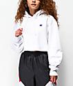 Champion sudadera con capucha corta de tejido inverso blanco