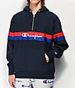 Champion sudadera con capucha de tejido inverso azul con media cremallera