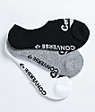 Converse Varsity paquete de 3 calcetines invisibles negros,  grises y blancos