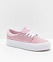 DC Trase SE zapatos de skate de plataforma en rosa y blanco