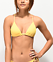 Damsel Banana Yellow Flat Rib Triangle Bikini Top