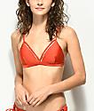 Damsel top de bikini de triangulo en rojo brillante
