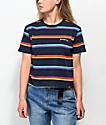 Dickies camiseta corta azul de rayas arcoíris