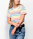 Dickies camiseta corta blanca de rayas arcoíris