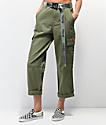 Dickies pantalones verdes de utilidad con cinturón