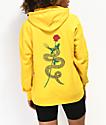 Empyre Fredia sudadera con capucha amarilla de culebra y rosa