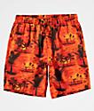 Empyre Grom Tropical Orange Elastic Waist Board Shorts