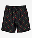Empyre Grom shorts de baño negros de rosas rojas