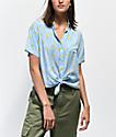 Empyre Hilo Lemon camisa de manga corta azul y blanca de rayas