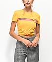 Empyre Ilaria Cherry camiseta corta anudada amarilla