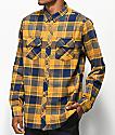 Empyre Marky camisa de franela azul marino y dorado