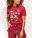 Empyre Sloane Flying High Burgundy Tie Front T-Shirt