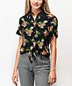 Ethos Pineapples Black Tie Front Short Sleeve Button Up Shirt