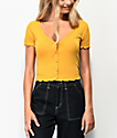 Ethos Yellow Button Down Crop Top