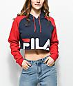 FILA Luciana Navy & Red Crop Hoodie