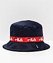 FILA Satin Jacquard Navy Bucket Hat