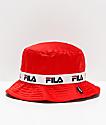 FILA Satin Jacquard Red Bucket Hat