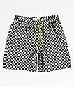 Fairplay Boardy Neon Checkered Black & White Elastic Waist Board Shorts