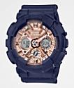 G-Shock GMAS120 reloj de oro rosa y azul marino y rosa