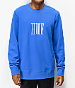 HUF Marka Supply sudadera azul con cuello redondo