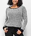 Jolt Fuzzy Black & White Sweater