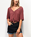 Lunachix Carlie Thermal Burgundy Button Down Top