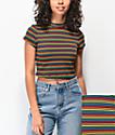 Lunachix Masie camiseta corta arcoiris con cuello simulado