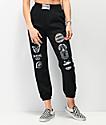 NEW girl ORDER Holographic Logo Black Jogger Sweatpants